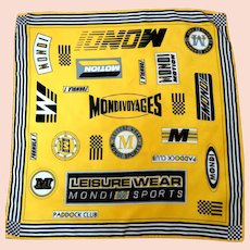 100% Silk MONDI Sports Scarf.  Made in Italy.  Yellow and Black.  Mint Condition.