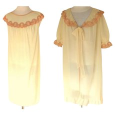 French Negligee / Peignoir / Nightgown Set.  Ecru & Cream. Mid 1960's.  As New Condition. - Red Tag Sale Item