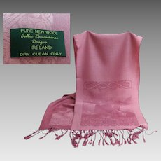 Celtic Renaissance Designs.  100%  Wool. Made in Ireland.   Long Rose Scarf.  Wonderful Quality. As New Condition.
