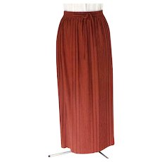 Full Length Hostess / Evening Skirt.  Terracotta.  Decorative Polyester Knit.  As New Condition. - Red Tag Sale Item