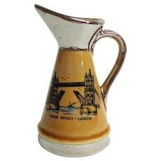 WADE Creamer / Small Jug.  Tower Bridge-London Souvenir.  Silver Deposit.  Mint Condition.