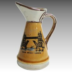 WADE Creamer / Small Jug.  Tower Bridge-London Souvenir.  Silver Deposit.  Mint Condition.