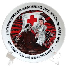 1979 German Souvenir Plate.  Red Cross Nurse.  Mint Condition.