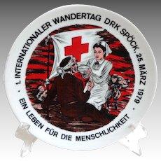 1979 German Souvenir Plate.  Red Cross Nurse.  Mint Condition.