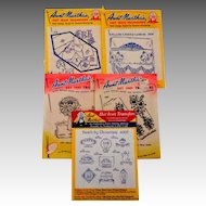 5 Packages. Embroidery  / Craft Patterns.  Aunt Martha's Hot Iron Transfers.