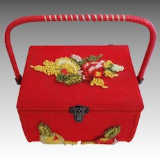 1950's Sewing Basket.  Charming. Fabric covered.  Hooked Looped Embroidery Floral Decoration Top and Front.  Red Color.  Near Fine Condition.