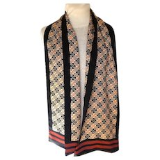 100% Silk Uni-sex 2 Layer Oblong Scarf.  Black, Baize and Terracotta.  As New Condition.