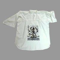 Egyptian Cotton Cairo Souvenir Blouse / Tunic.  1970's.  White.  Near Fine Condition.
