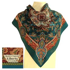 LIBERTY OF LONDON Made in England Silk Scarf.  As New Condition.