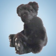 """16"""" Genuine Mink Fur Teddy Bear.  Black.  Fully Jointed.  Adorable.  Perfect Condition."""