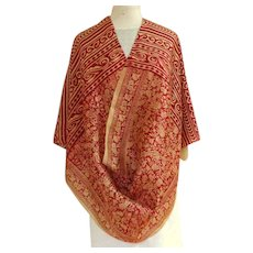 Incredibly Fine Delicate Indian Silk Scarf / Shawl / Pashmina.  Red and Gold. As New Condition.