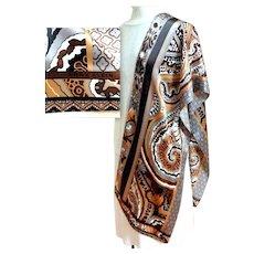 ANNE KLEIN Silk Scarf. Oblong.  Browns & White.  Stunning.  As New Condition.