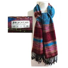 Pashmina.  Blue and Wine.  Floral Outlines.  Gorgeous.  As New Condition.