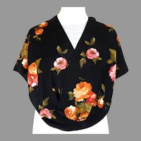 100% Silk Black and Roses Oblong Scarf.  Exquisite.  Mint Condition.