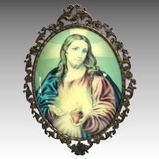"Italian. Large, Convex Glass, Metal Framed Picture of Sacred Heart.    16"" Tall.  Beautiful."