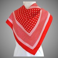 Daniel la Foret, Paris, 100% Silk Scarf. Red and White.  Quality.