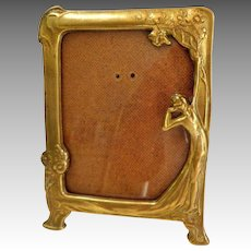 Art Nouveau Photo Frame.  Decorated Brass with Lady and Flowers.  Mint Condition.