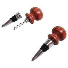 Combination Bottle Stopper and Corkscrew.  Wooden top and Stainless Steel Corkscrew.  Top Quality! As New Condition.