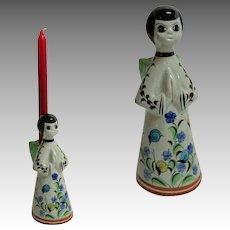 German Angel Candleholder.  Ceramic.  1970's.  Charming Folk Art.  Mint Condition.