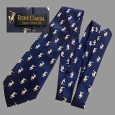 Men's Silk Handmade Tie.  Navy with Polo Players.  As New Condition.