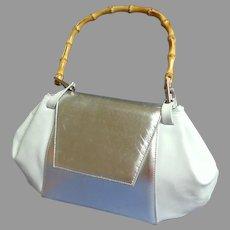 BOCCI Italian Designer Purse.  Genuine  Silver Patent Leather & White Leather.  Bamboo Handle.  Top Quality Elegance.