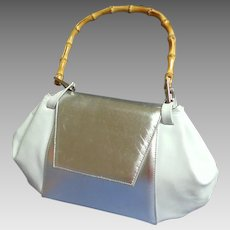 BOCCI Italian Designer Purse.  Genuine  Silver Patent Leather & White Leather.  Bamboo Handle.  Top Quality Elegance.