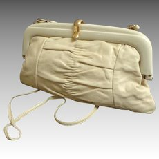 Italian Genuine Leather Convertible Clutch / Crossbody Purse.  Baize & Cream.  Mint Condition.