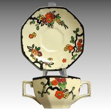 Royal Doulton WOBURN Pattern.  2 Handled Bouillion Cup.  Moriage.  Perfect Condition.