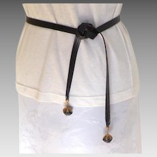 Narrow Leather Tie Belt with Decorative Leather Ball with Gold Ends.  Brown.  Mint Condition.