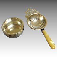 2 Piece Old English Silverplate  /  Silver Plate Tea Strainer.  Hallmarked.  Elegant.