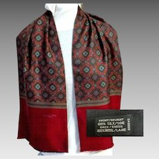 CHRISTIAN DIOR Monsieur Men's Scarf / Muffler. Wine Paisley Patterned Silk and Black Wool. Elegant. Luxurious.  As New Condition.