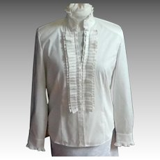 Classic White Cotton and Polyester Blouse.  Beautifully Detailed.   Never Worn. As New Condition.