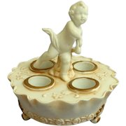 Antique German Bisque 4 Space Candleholder with Cherub /  Putti.  Charming.  As New Condition.
