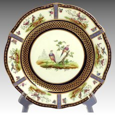 1905  AYNSLEY Cabinet Plate.  Exquisite Bird Portraits.  Cobalt and Gold.