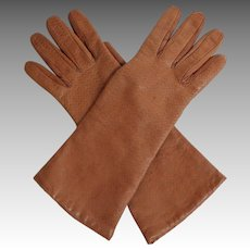 Quality Italian Leather Gloves.  Cashmere Lined.  Size 7.  Dark Tan.  Fine Condition.