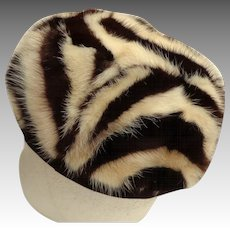 Mr. D Genuine Fur Pillbox Hat.  Beautifully Styled.  Chic.  Brown and Pale Cream.  Mint Condition.