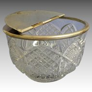 Unusual EAPG Metal Folding Lid Condiment Container. Large.