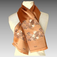 LIBERTY OF LONDON Silk Scarf.  Made in France. Embroidered.  Copper Color. Oblong. Super Luxurious.