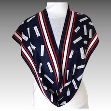 President's Signatures.  Italian Designer Scarf.  Millicent Signed. Red, White & Blue.  Mint Condition.