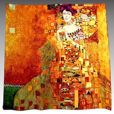 Gustav Klimt Art Scarf.  100% Silk.  Portrait of Adele Bloch-Bauer.  Incredibly Beautiful.  As New Condition.