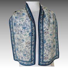 100% Silk Oblong Scarf.  Teal blue with Florals on White.  Exquisite.  Mint Condition.