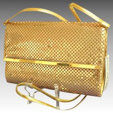 MWT,  As New,  Whiting and Davis Convertible Clutch / Cross Body.  Gold Mesh.  Gorgeous.