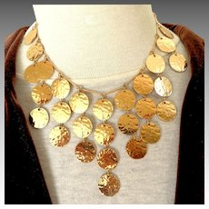 Gold-tone Discs Bib Necklace.  Chic. Eye Catching.  Mint Condition.