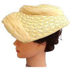 b1c24fd98a683 1940 s - 1950 s Hat. Cream Woven Straw and Cream Chiffon. Interior Cap.  Mint. Recently Sold on Ruby Lane