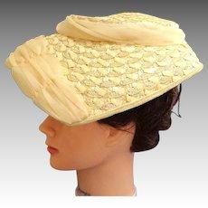 1940's - 1950's Hat.  Cream Woven Straw and Cream Chiffon.  Interior Cap.  Mint Condition.