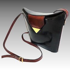 MATEUS  Handmade Italian Genuine Leather Purse. Black and Brown. Cross-body. Closed Tote.  Elegant. Mint Condition.