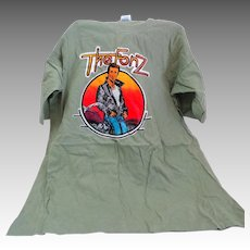 1970's Vintage THE FONZ T-shirt.  Size L.  Pale Olive Green.
