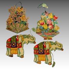 4 Large Die-Cut Bridge Tallies.  Very Old. Elephants. Flower Baskets.
