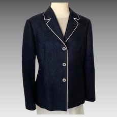 CONRAD C  Navy Jacket / Blazer.  White Piping.  Princess Lines.  Poly Linen.  Mint Condition.