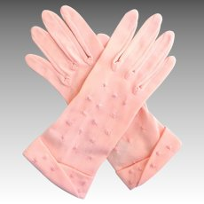 1940's Pink Nylon Gloves.  Made in the British Crown Colony Hong Kong.  Size 6 1/2 to 7.  Mint Condition.
